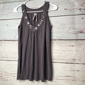 Tops - Gray V Neck Loose Fit Blouse Small